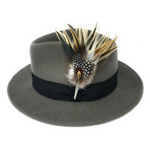 Grey Showerproof Wool  Fedora Hat with Country Feather Brooch - Burford